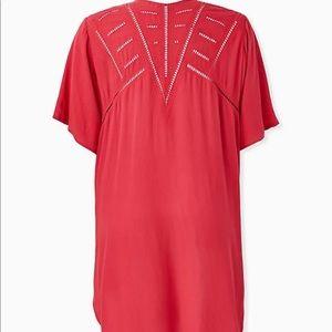 NWT Torrid Red Crinkled Gauze Crochet Kimono, 1x